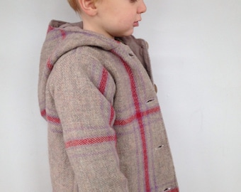 Childrens Wool Coat - Custom REDPOLL - Pea Coat with Pixie Hood - Vintage Buttons