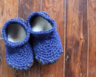 Wool Sheepskin Crochet Slipper Pattern - For Infant, Toddler, Children Youth - up to Size 5 - Instant Download