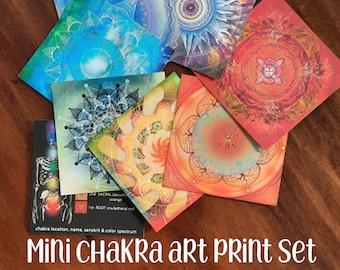 Chakra Meditation Mini Prints, Flash Cards, Seven Chakras