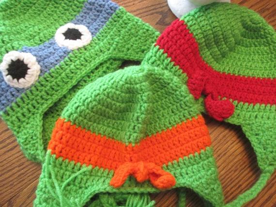 Ninja Turtle Beanie Muts Haken Etsy