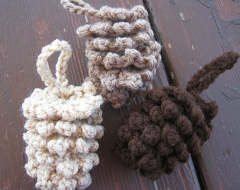 Crocheted Pine Cone Ornaments - set of 5