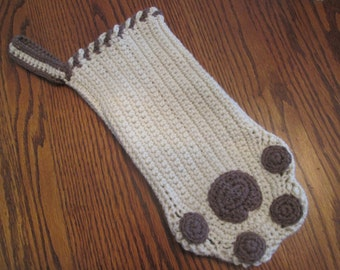 Crochet Christmas Pet Stocking, Paw Print Christmas Stocking