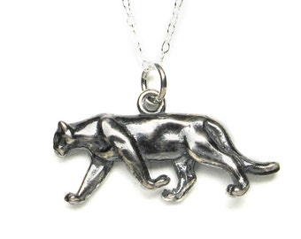 Solid sterling silver walking cougar (puma or mountain lion) pendant or charm with antique patina. Big cat.