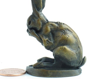 Tiny Bianca bronze rabbit sculpture, two and a bit inches tall