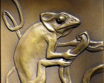 """Bronze Sculpture 'Chameleon 2' plaque in bas relief 6"""" x 8"""""""