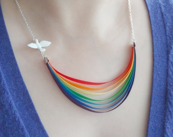Here Comes the Sun - rainbow, dove and last drop of rain - NECKLACE -