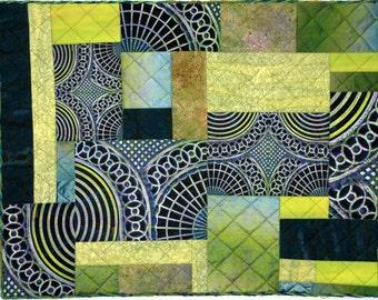 Abstract Green One of a Kind Handmade Fiber Art Quilt Wall Hanging