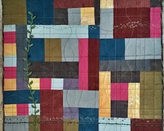 Color Play II Handmade Fiber Art Quilt Wall Hanging