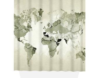 Shower Curtains World Map Curtain Light Olive Green Bath Mat Design 123 Sage Home Decor LDumas