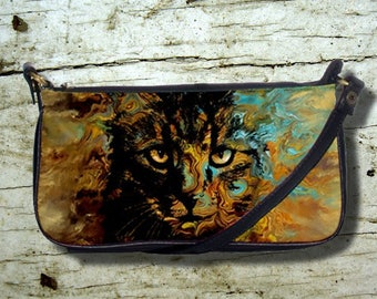 Small Clutch or Sling Bag Purse Cat 617 orange aqua turquoise brown black modern art painting L.Dumas