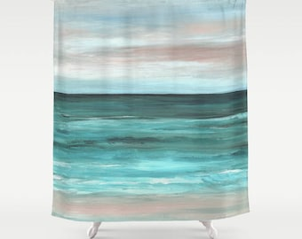 Shower Curtains Sea Curtain Beach Bathroom View 265 Or 266 Aqua Turquoise Blue Art LDumas
