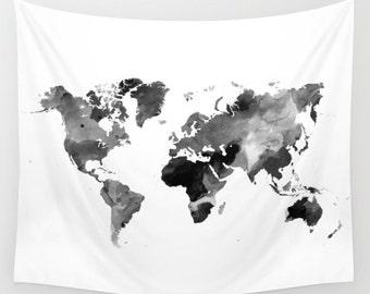 World map tapestry | Etsy