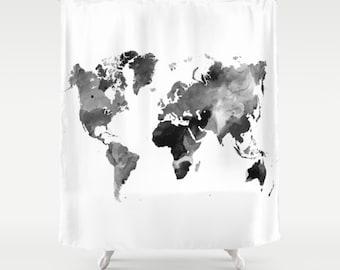 Shower Curtains World Map Curtain Gray Bathroom Design 42 Grey Scale Art LDumas