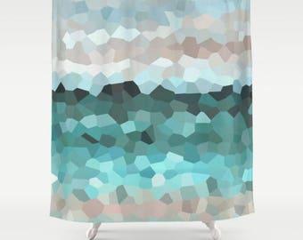 Shower Curtains Mosaic Curtain Bath Mat Design 86 Aqua Blue Tan Sand Beach Beachy Ocean Sea Art Painting By LDumas