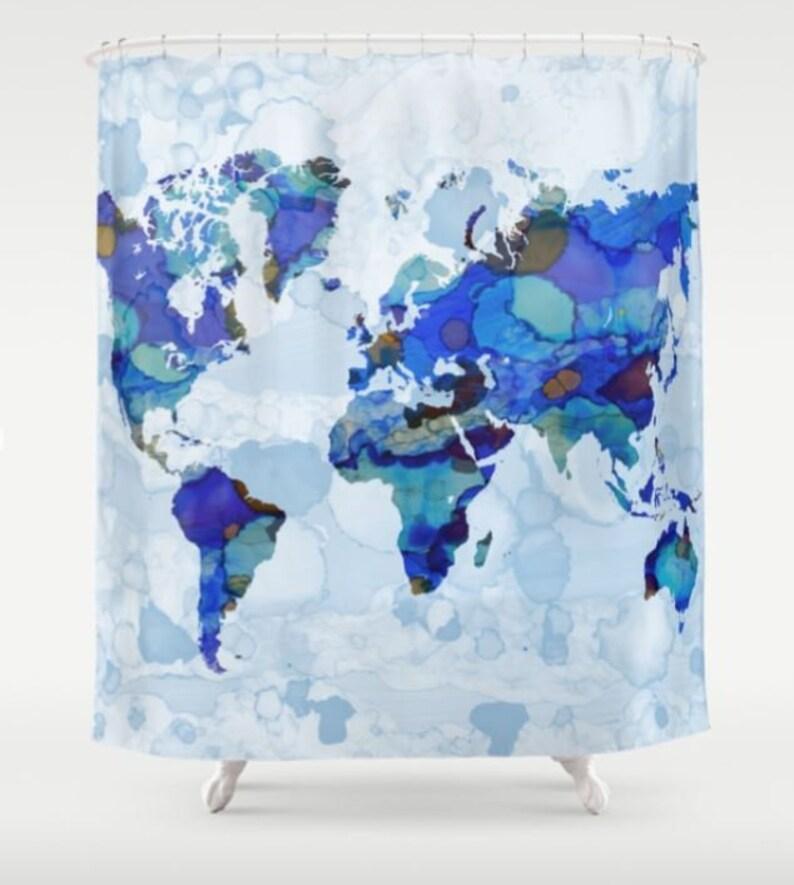Shower Curtains Blue Curtain Bath Mat World Map