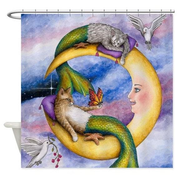 Shower Curtains, Cat Shower Curtain, Bathroom, Cat Mermaid 29 Moon Fantasy art painting L.Dumas