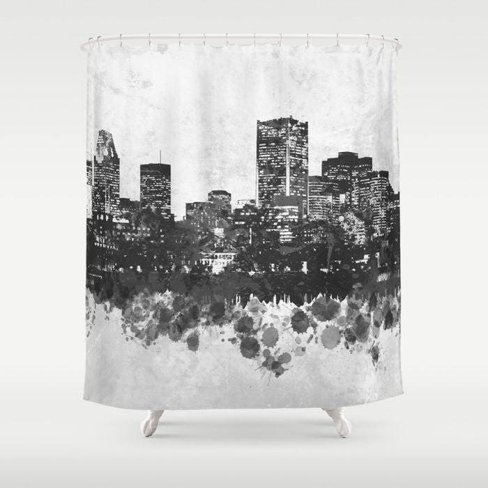 How To Create A Greyscale Bathroom: Shower Curtains Cityscape Shower Curtain Bathroom Design