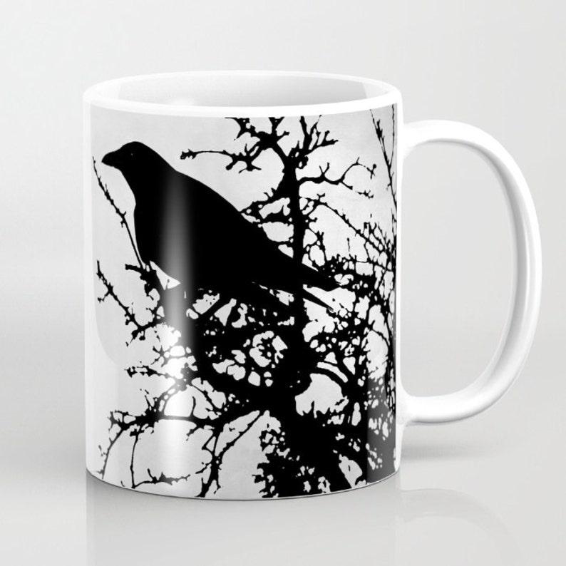 Or L Digital Bird 11oz 15oz Coffee Grey Mug dumas Art By Raven 43 Black Cup Design Crow Tree GzpSqUMV