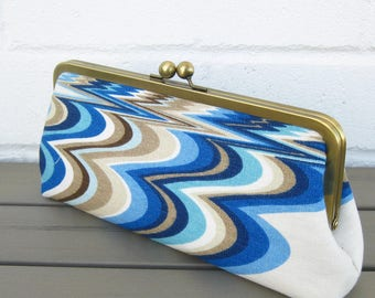 Large Classic Clutch - Jonathan Adler Linen Fabric Purse with optional chain strap - Gift for her - Ready to Ship by UPSTYLE