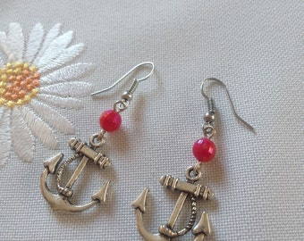 Red Anchor Sailor Earrings - Rockabilly Pin-up Style
