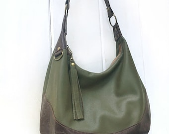 Olive leather hobo bag two tone 772bcc002d8bc