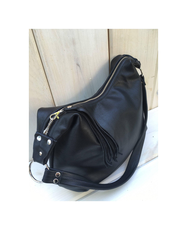 da956ec14a Black leather hobo bag smaller size black leather purse