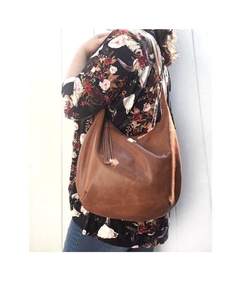 d0ab812c9e65 Leather hobo bag distressed brown genuine leather large or