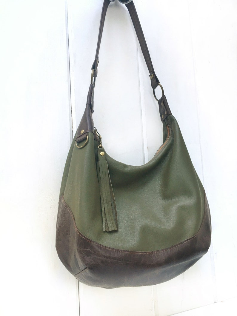 fb39e57ee2 Olive leather hobo bag two tone olive green and distressed