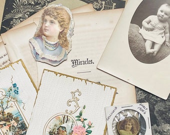 Time Travel Paper Ephemera Pack 1840's-Early 1900's Libretto Pages Book Pages Postcards Victorian Paper Cutout Celluloid Embellishment