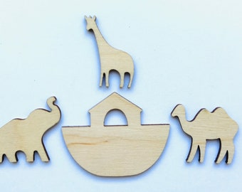 Noah's Ark Laser Cut Small Unfinished Wood Shapes Walnut Hollow Brand