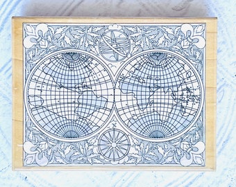 Stampabilities Hemispheres Wood Mounted Stamp Globe Travel Theme