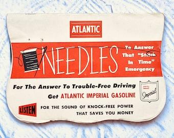 Vintage Needle Book Atlantic Imperial Gasoline Retro Advertising Ephemera