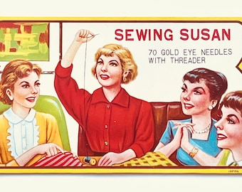 Sewing Susan Vintage Needle Card Booklet With Gold Eye Needles and Threader