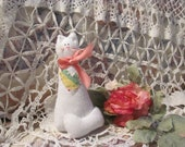 Handmade White Soft Kitty Cat 9 quot Tall Quilted Heart from Vintage Quilt, Valentine Kitty Cat