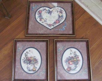 Homco Frames ..Set 3 Vintage HOme Interior ...