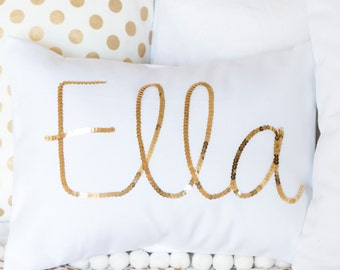 Gold Sequined Name Cushion