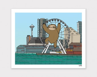 Ferris Wheel Sloth Print