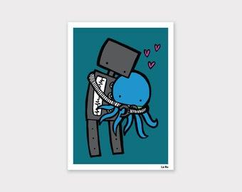 Robot Hugging Octopus Print