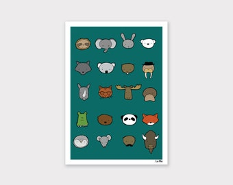 Animals Print - Dark Teal