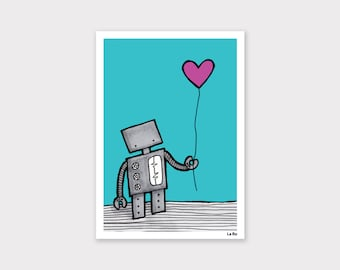 Robot with a Heart Balloon Print