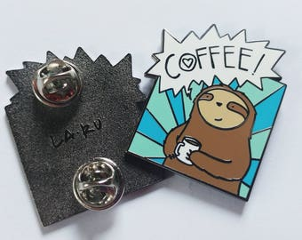Coffee Sloth Enamel Pin