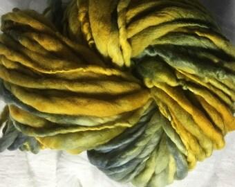 Yellow & Grey Merino hand spun, hand dyed chunky yarn