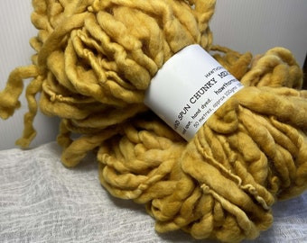Golden Yellow Hand Spun Hand Dyed Merino Chunky 50 Metres Feltable