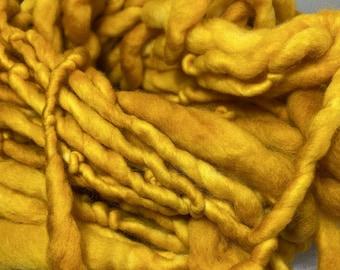 Yellow Merino handspun hand dyed chunky Mini Hank 25 Metres