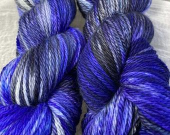 Purple and Black Hand Dyed 10ply Aran Weight Merino Wool 166 Metres