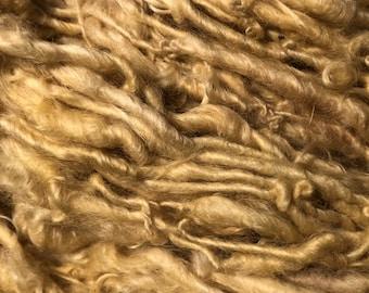 Pale Gold Handspun English Leicester Curls  Chunky Yarn