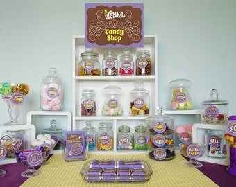 Wonka deluxe party kit Willy Wonka birthday party decorations DiY printable party décor complete Charlie and the Chocolate Factory PuRPLe