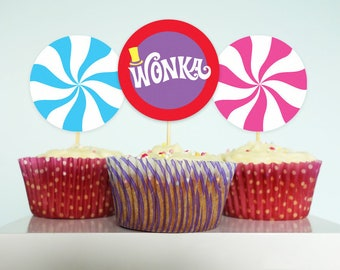 Willy Wonka cupcake toppers Willy Wonka birthday party DiY printable cupcake toppers rainbow lollipop toppers MuLTiCoLoR