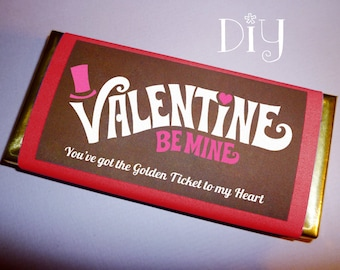 Valentine Card Printable Candy Bar Wrapper Valentines Personalized Gift For Him Or Her Wonka Golden Ticket