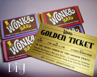 Wonka Bar Wrappers Wonka Bar Candy Bar Wrapper Template Willy Etsy